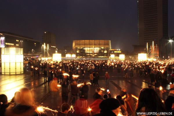 Wunderkerzen Flashmob Leipzig