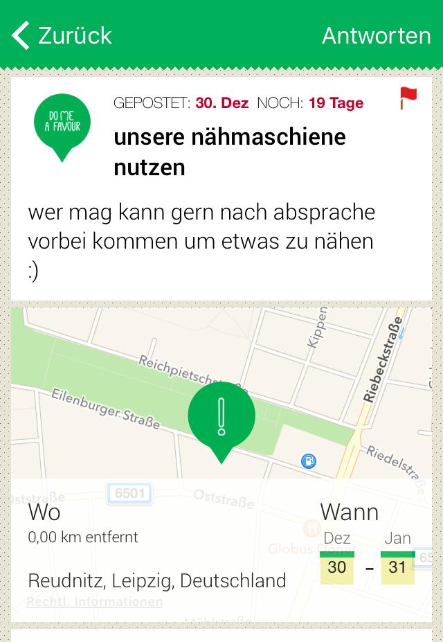 DoMeAFavour Leipzig App
