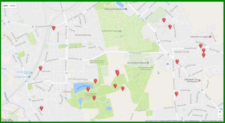 Obsternte Karte: Kirschbäume in Leipzig