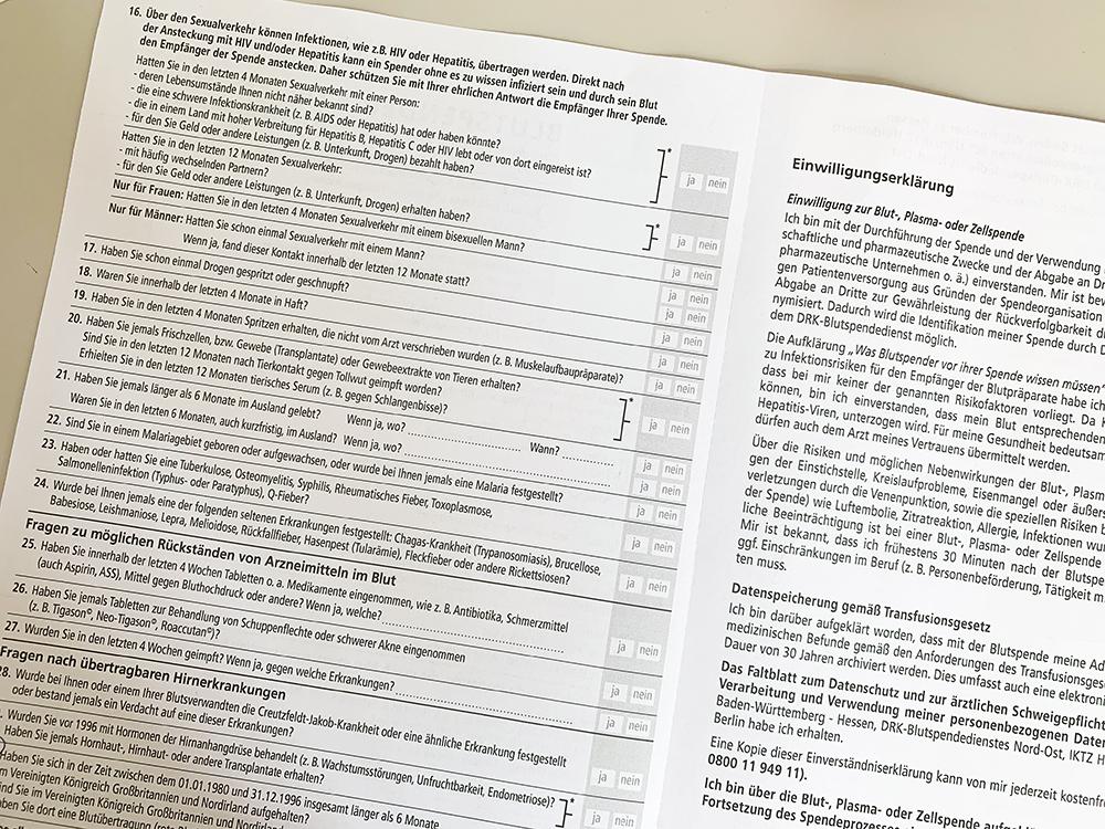 Blutspende Fragebogen